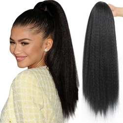 G&T Ponytail Extension, Drawstring Ponytail for Black Women, Long Kinky Srtaight Yaki Pony Tails 24 Inches