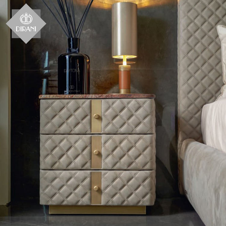 Nordic light luxury marble bedside cabinet 3 drawers storage cabinet hotel bedroom storage bedside table