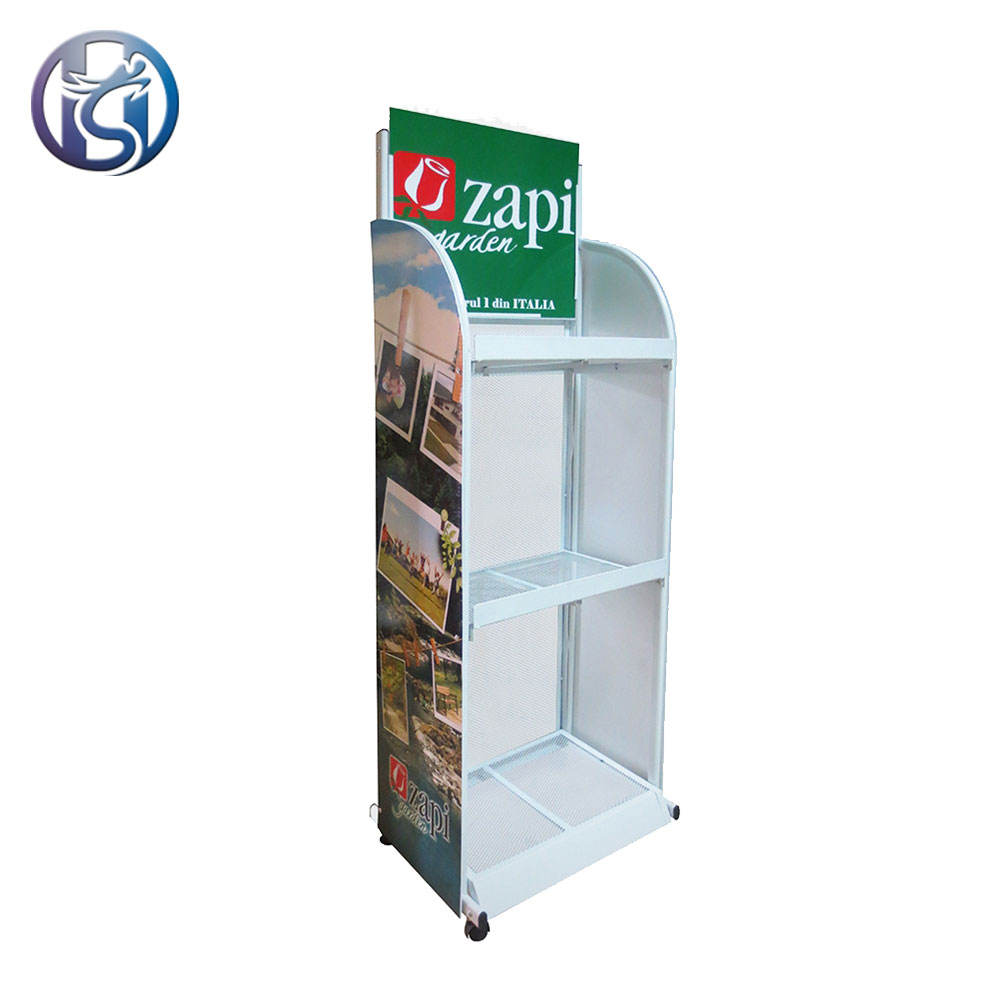 3 tier metal display rack with wheels free standing picture promo display stands on wheels