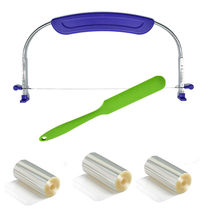 Cake accessories Adjustable SS wire cake slicer leveler cutter set with silicone spaluta Cake collar roll