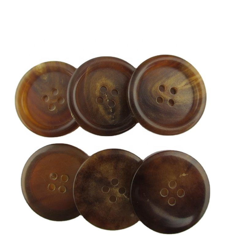 4 hole classic brown horn buttons for suit