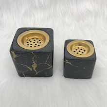 Wholesale Ceramic Box Incense Burner Square Black With Gold Decoration