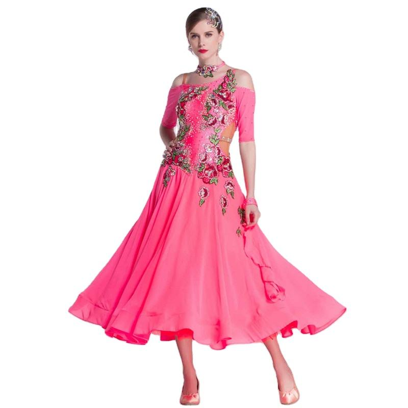 B-18424 Carnival new national standard modern dance competition table costume waltz ballroom dance dress with pearl silk skirt
