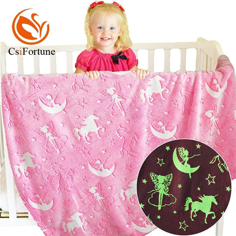 Bed cover soft cozy flannel glow in the dark blanket for children kids