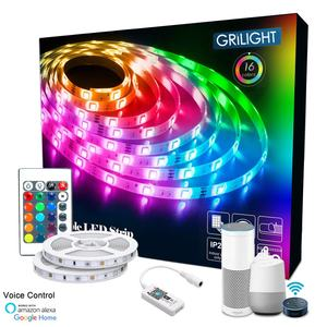 Amazon Hot Sale LED Kit Music Sync Voice Control Google Home Alexa Tuya 5M 10M Bluetooth Smart WIFI 5050 RGB LED Strip Lights