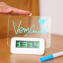 Buy New arrival Digital LCD Temperature Alarm Clock Promotional Desktop Electronic Led leave Message Board Gifts Clock