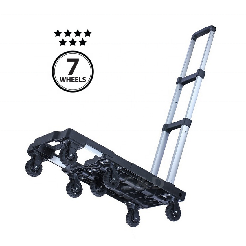 150kg heavy duty compact platform lightweight portable flatbed 7 wheels dolly folding shopping luggage hand trolley cart truck
