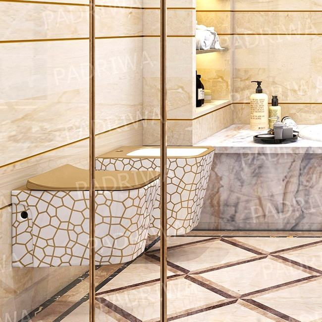 Gold White Color Geometry Pattern Design Hot Sale High Quality Sanitary Wares Ceramic Square Bathroom Wall Hung Toilet
