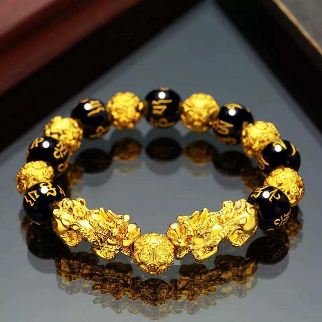 V&R Custom Bracelet Adjustable Elastic Pi Xiu Gold Bracelet Feng Shui Black Obsidian Wealth Mens Bracelet For Women