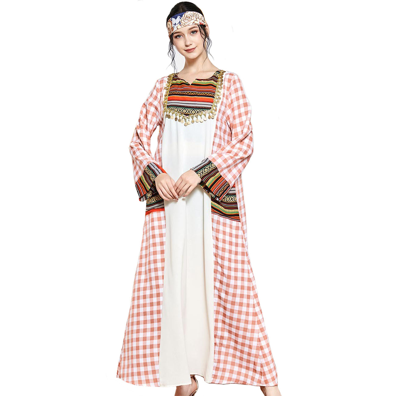High Quality embroidery fashion Long Sleeve Islamic Clothing Muslim Dress Abaya kaftan dress Robe nightgown