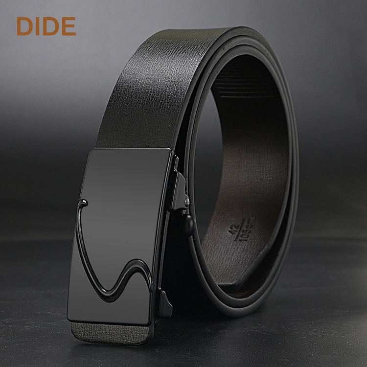 Men's official black real leather belt with automatic buckle