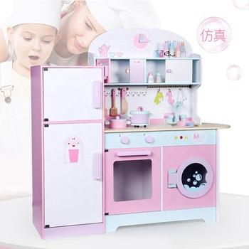 Pretending Role Play Pink Big Cooking Girls Wooden Kitchen Sets Toys