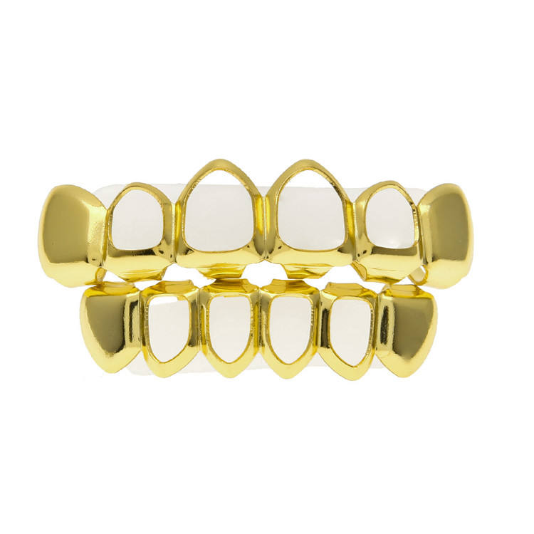 Tand Grillz Set Zilver Goud <span class=keywords><strong>Tanden</strong></span> Top Bottom Punk Prothese Bbq Voor Vrouwen Mannen Lichaam Sieraden Cosplay Party