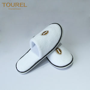 Custom logo 100% cotton disposable wedding bath slippers