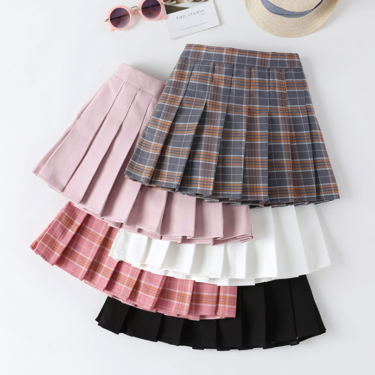 YY10733G 2020 New arrival autumn and winter girls stylish kids pleated mini skirt Plaid skirt
