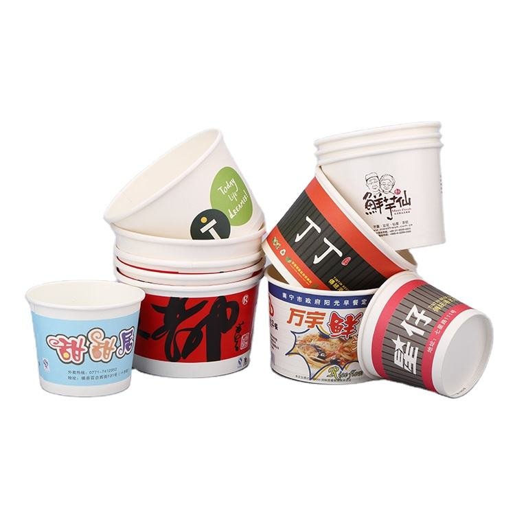 1300 ml Recyclable Disposable Paper bowls cup with your customized logo for instant noodle Rice, Soup, Dumpling Contain