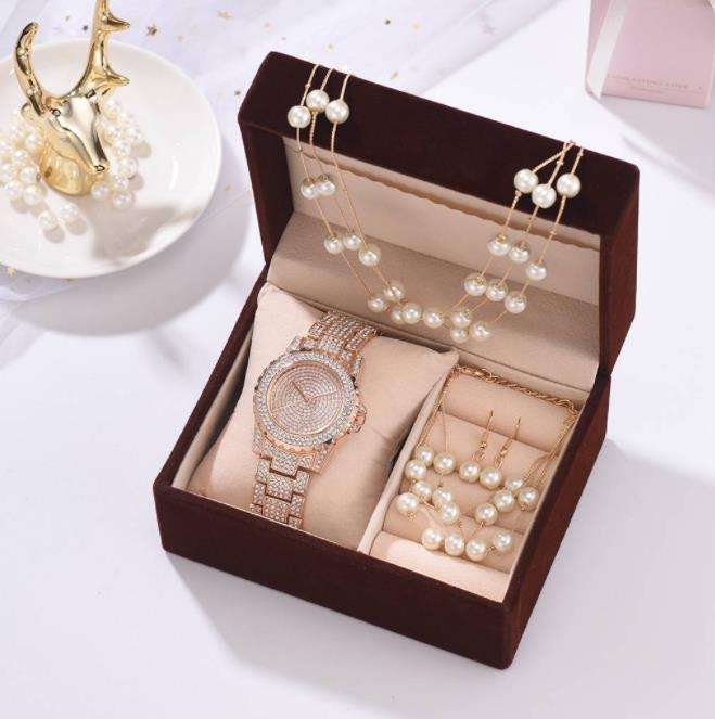 5pcs/set Valentine's Day Gift Diamond Watch Set Women Gift Set Bracelet Necklace Pearl Earrings Birthday Gift For Lady