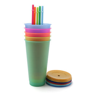 2020 Hot Product New Reusable Color Changing Cold Cup Plastic Coffee tumbler With Straw Set Of 5