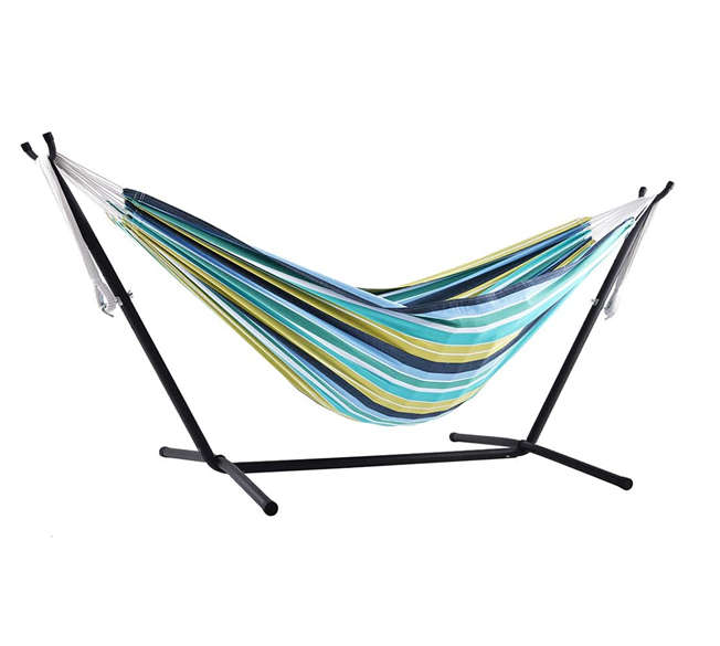 Woqi 2020 Hot Selling Portable Outdoor Indoor Cotton Hammock With Metal Stand Double Cotton Swing Camping Hammock