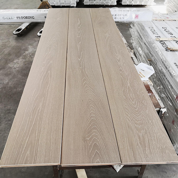 Thick wear layer and 300 mm wide plank grey color and white washed oak engineered wood flooring