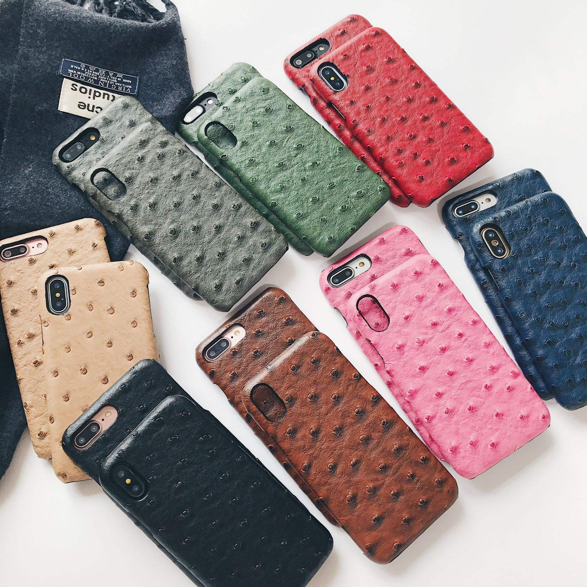 In Stock Ostrich Pattern Leather Back Phone Case for iPhone X XS XR XS Max, for iPhone XS Max Leather Back Case