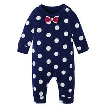 Baby cotton climbing suit wave dot bow newborn climbing suit comfortable cute jumpsuit