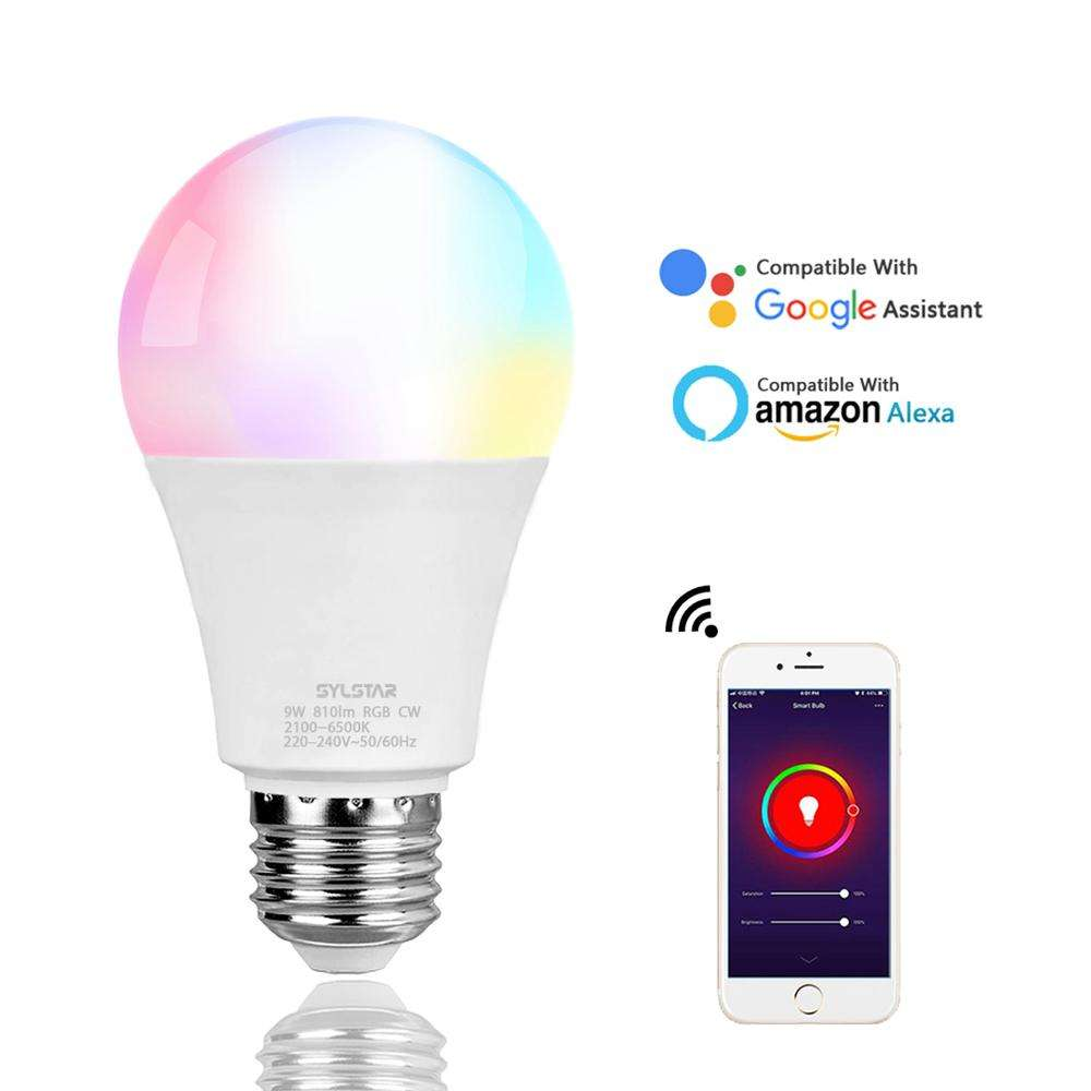 Tuya Google assistant Alexa 9W wifi rgb e26 e27 b22 dimmable smd lights raw material lamp home led smart bulb