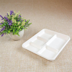 sugarcane bagasse fier rectangular 5-compartment tray which is biodegradable and compostable