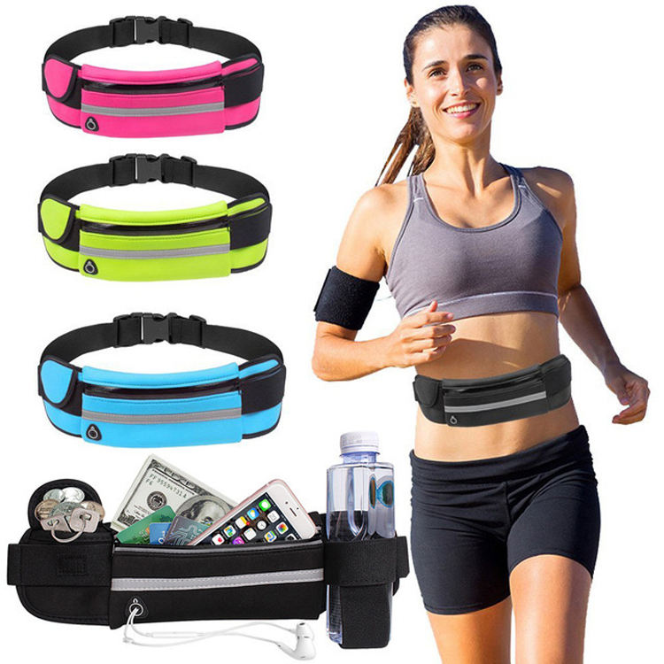 Wholesale Neoprene Waterproof Fitness Fanny Pack Elastic Running Belt Sports Waist Bag With Bottle Holder