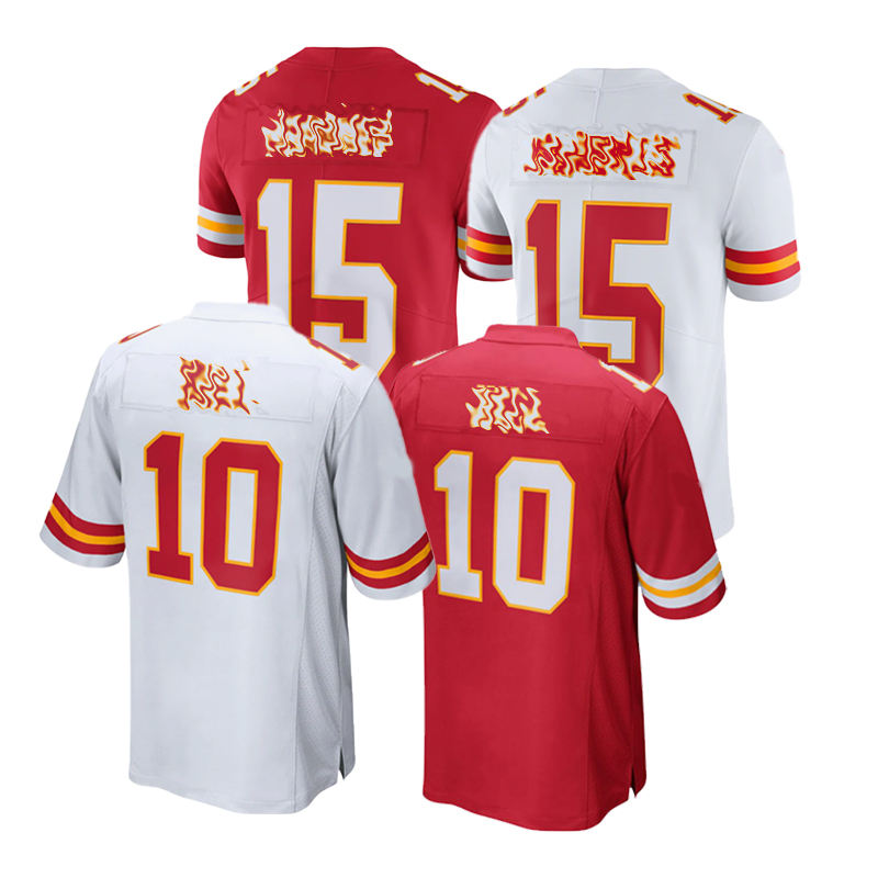 Mens Embroidery Kansas City 15# 10# Tyreek Hill Patrick Mahomes Shirt Jersey Stitch American Football Wear T Shirt Clothing