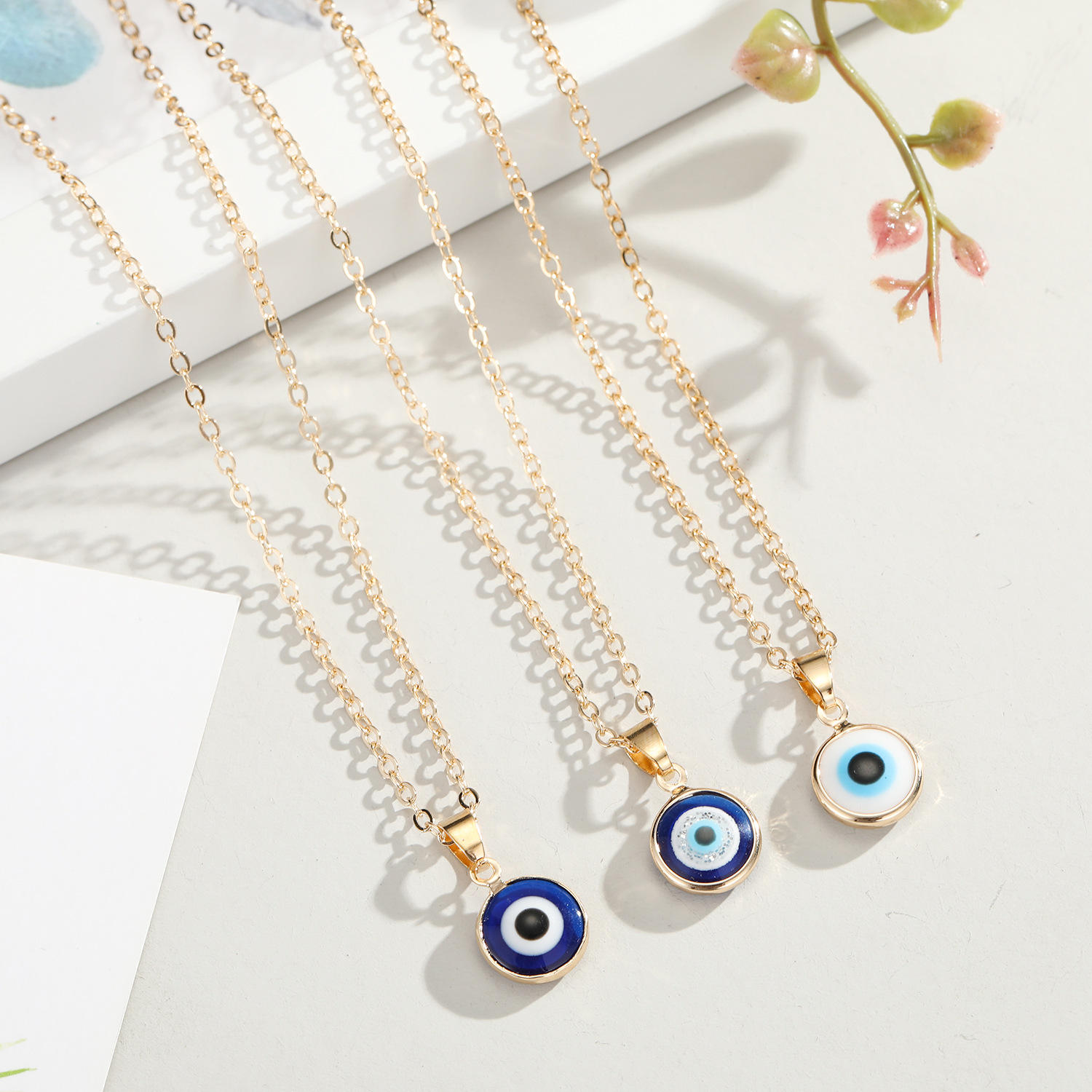 18k Gold Plated Clavicle Chain 10mm Round Beads Evil Eyes Necklace Blue Turkey Eye Pendant Necklace