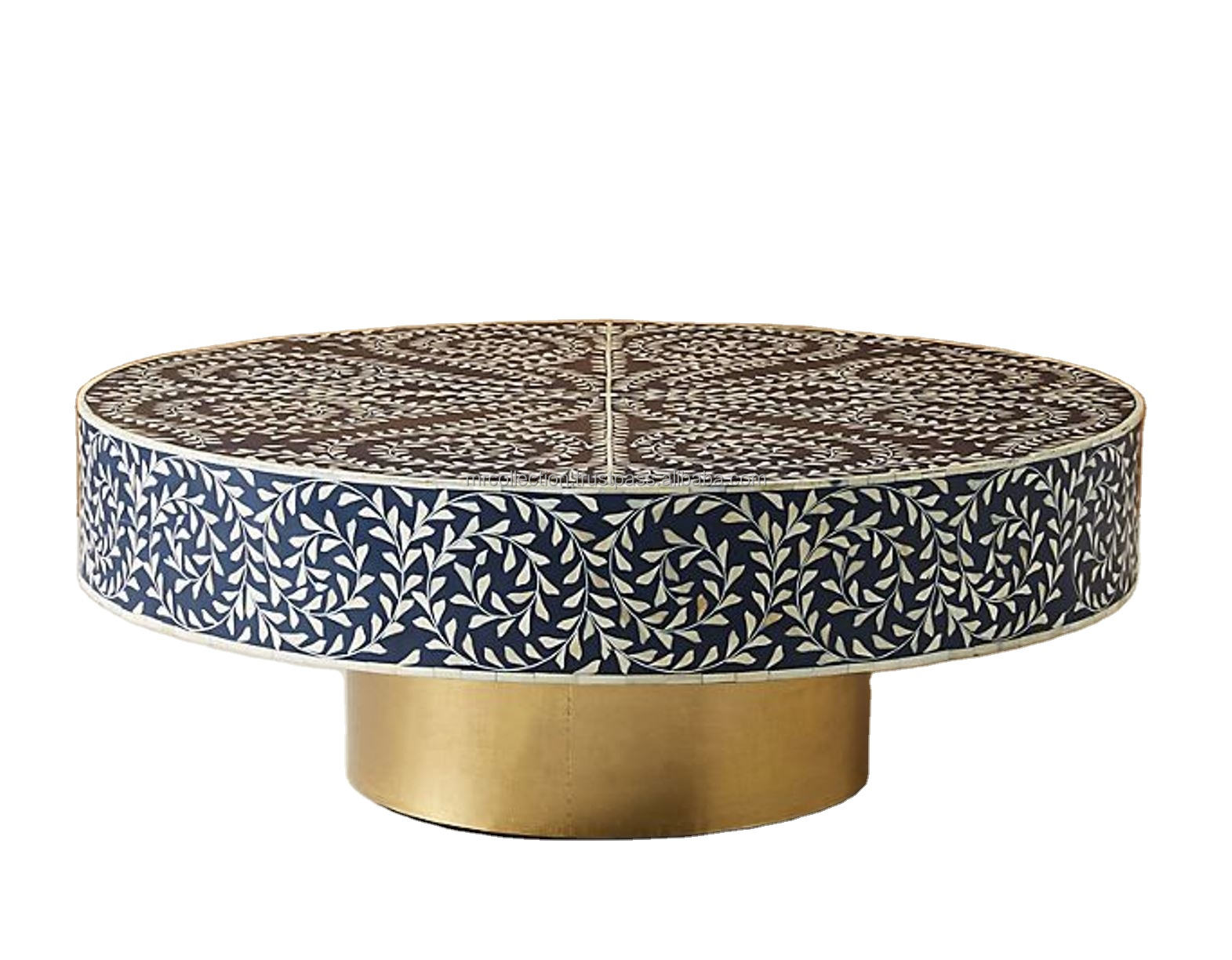 best quality round bone inlay coffee table with floral style bone inlay furniture