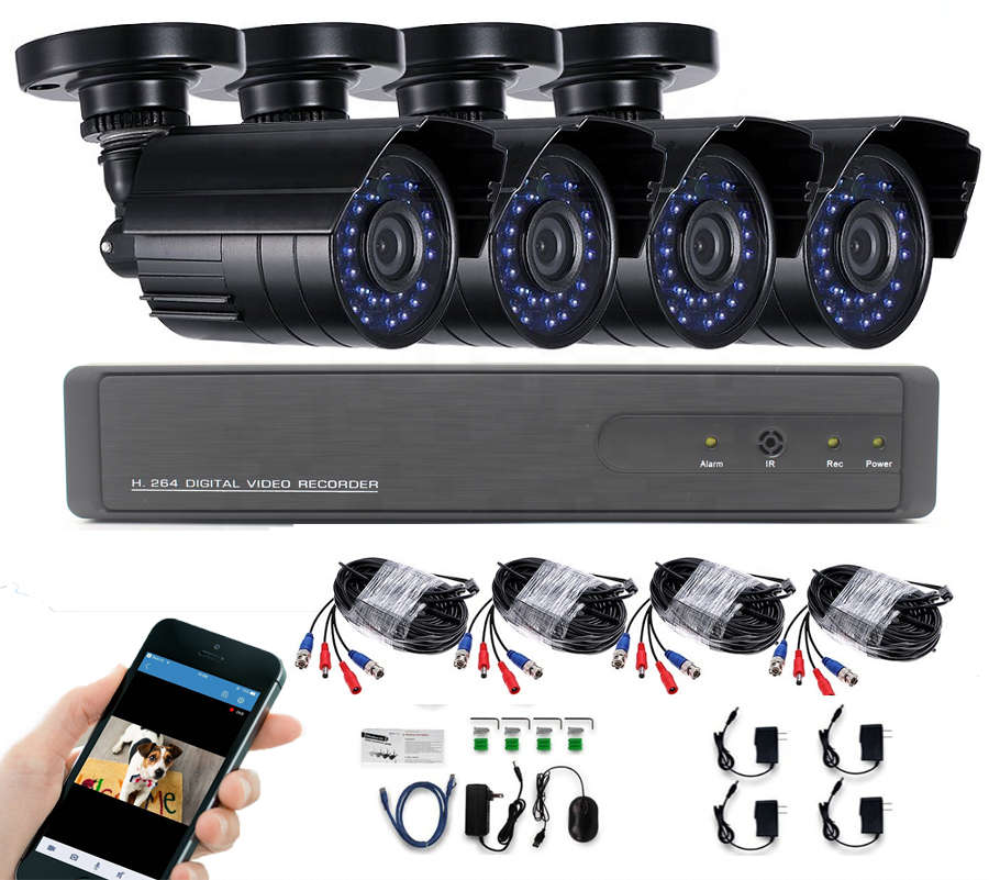 Sunivision 4CH Home Security Night Vision AHD NVR CCTV Camera Kit with 4pcs Outdoor Waterproof H.264 720P Camera