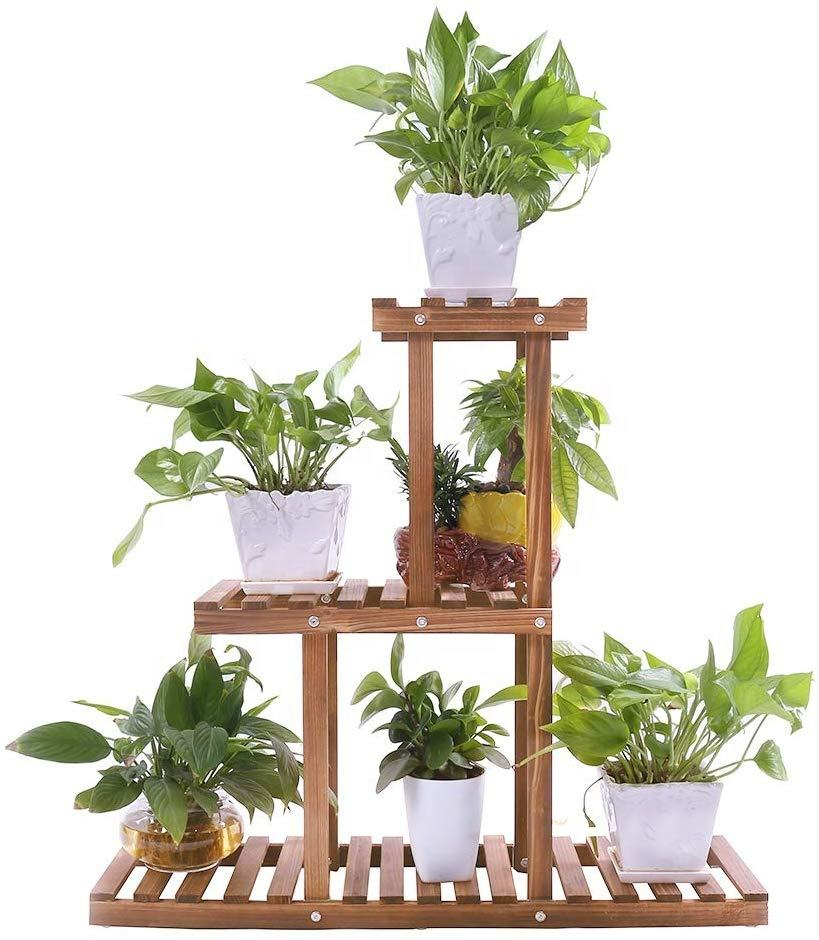 Wood Plant Stand Indoor Outdoor 3 Tier Planter Holder Flower Pot Ladder Shelf Garden Balcony Pot Display Storage Rack
