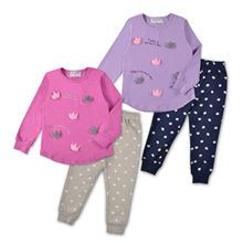 Little Girls Pajamas Cotton Long Sleeve Pjs Clothes Kids Sleepwear With Cute Decoration