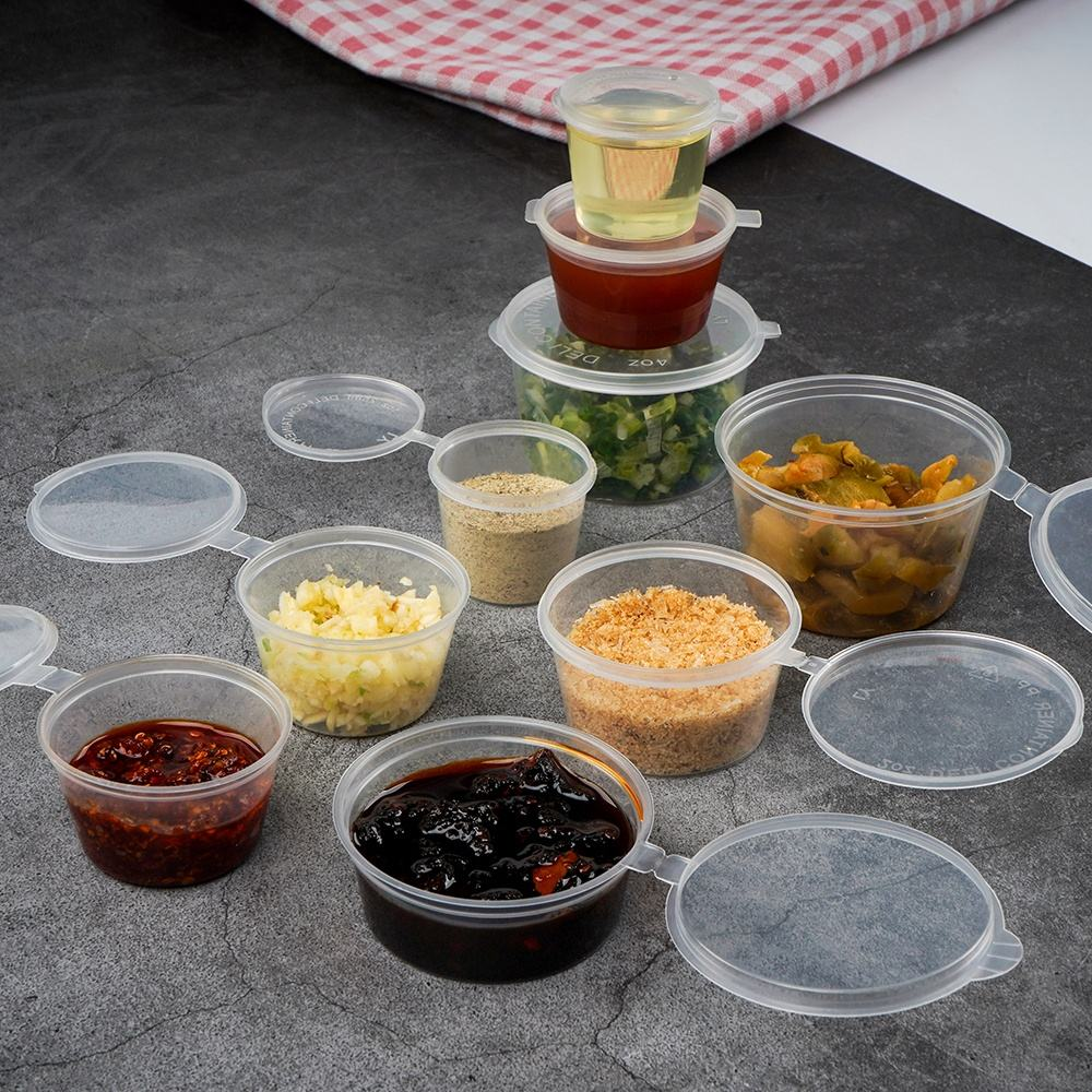 Mini clear disposable plastic sauce container with lid dressing cup with hinged lid for food dressing ketchup salad