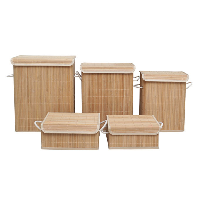 customized bathroom bamboo wooden square cube dirty clothes storage /bamboo laundry hamper storage basket bin box hampers