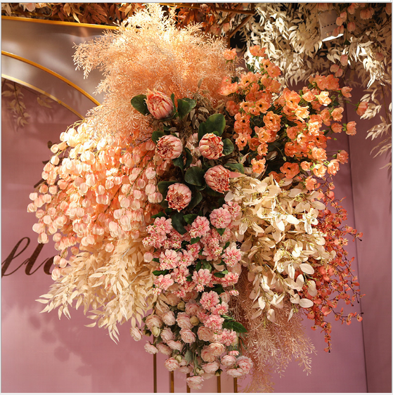 Pink Wedding Series Simulation Flower Arch Ceiling wedding fake flower Wedding decoration wall decoration flower Factory spot