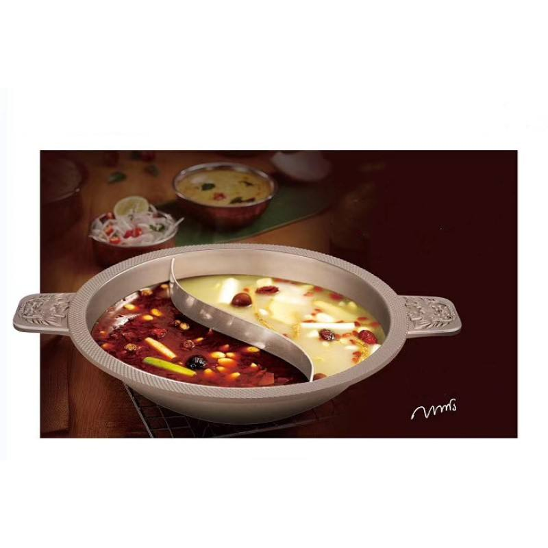 Chinese Multifunction Aluminum Non Stick Divided Soup chinese stainless steel haidilao hot pot