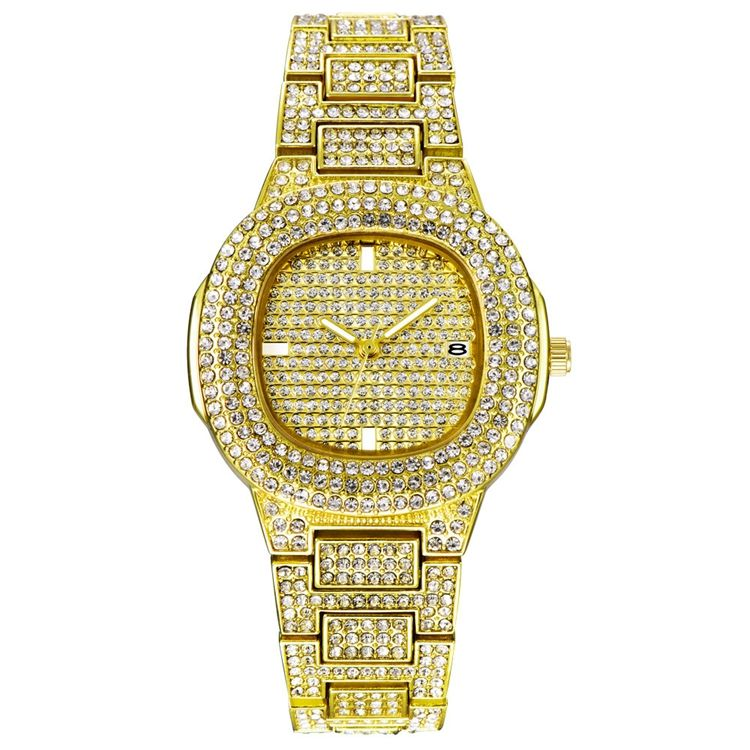 Fully Rhinestone Diamond Hip Hop Watch Men Luxury Bling Iced Out Gold Pink Silver Wrist Watches