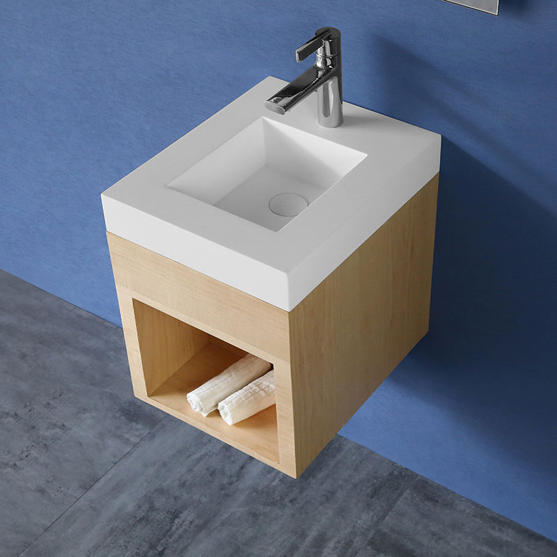 Modern Small Bathroom Vanity Solid Surface Wall Mount Bathroom Vanity Cabinet With Led Mirror