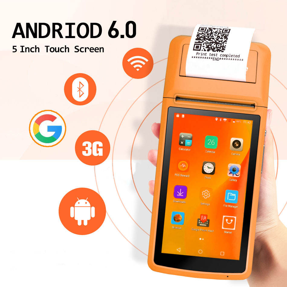 2020 cheap 5 inch mini touch screen smart android handheld pos with thermal printer