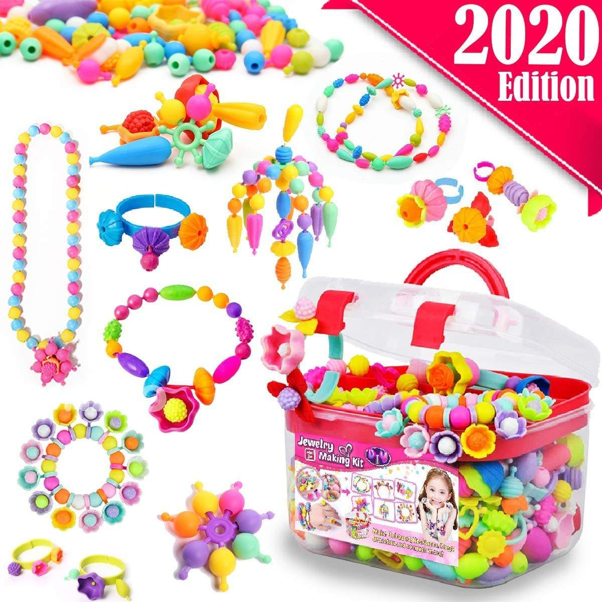 colorful Art Crafts Creativity DIY Beads Jewelry Educational Toys Pop Beads Set for Girls