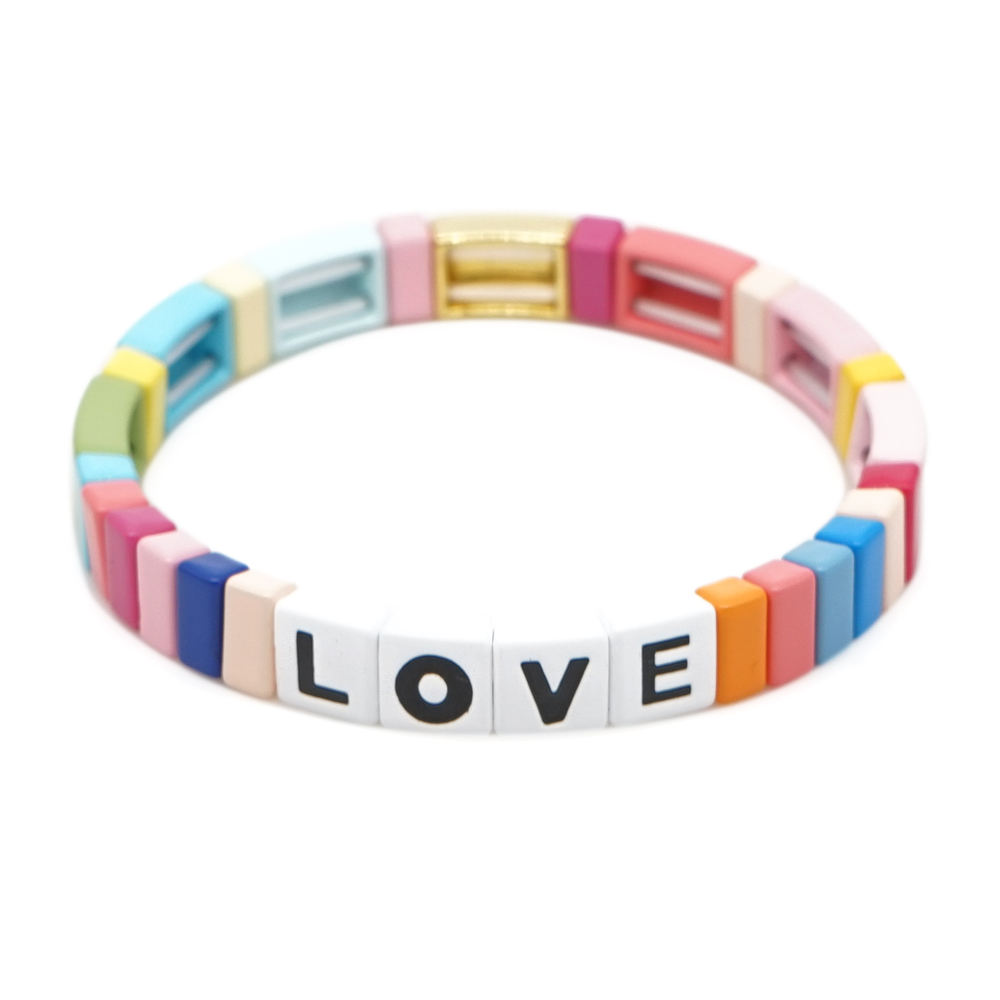 Go2boho Classic Colorful Chinese Gold Plated Enamel Rainbow With Love letters Bracelet