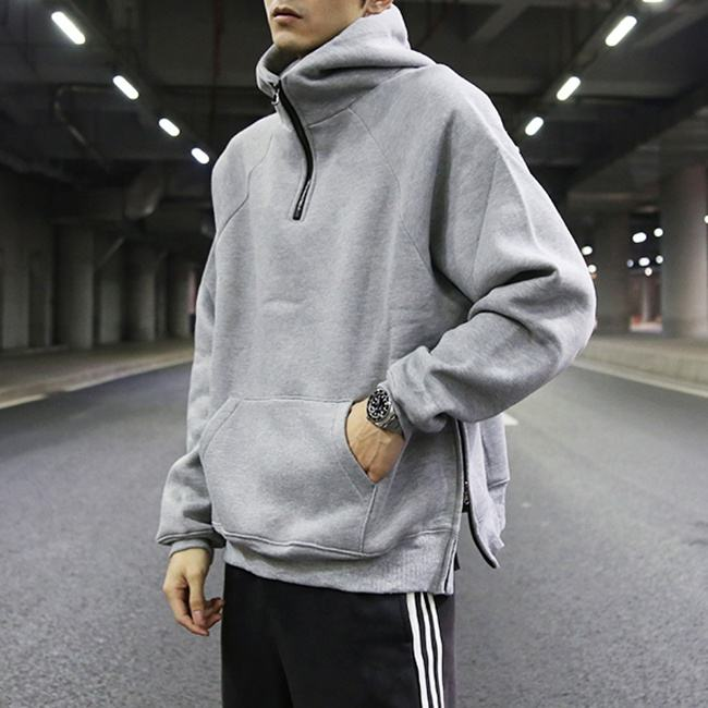 Custom loose and leisure blank pullover crewneck sweatshirt men stock oversized solid color long sleeves teen thick streetwear