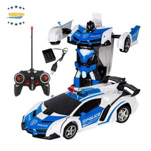 2019 New Radio Control Car Toy 1/18 One Key Change with One Button Automatic Operation Realistic Engine Sound rc Robot Car