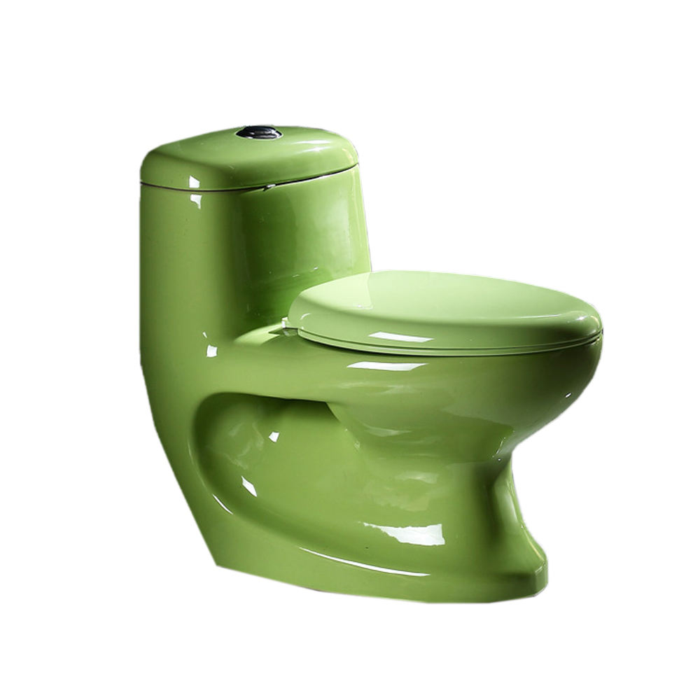 Colorful bathroom wc ceramic new Washdown one piece green color toilet QY-004CT