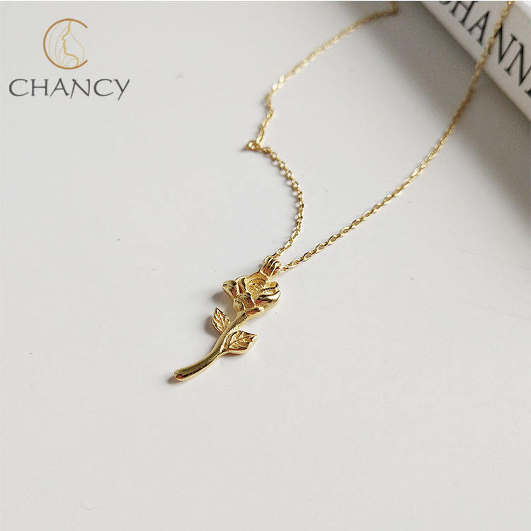 Korea style s925 sterling silver rose pendant necklace