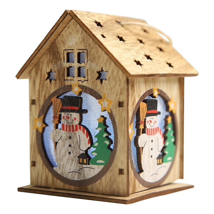 New Haube Christmas New Wooden Christmas With Lights Wooden House Creative Assembly Of Small House Decorations Luminous Color Ca