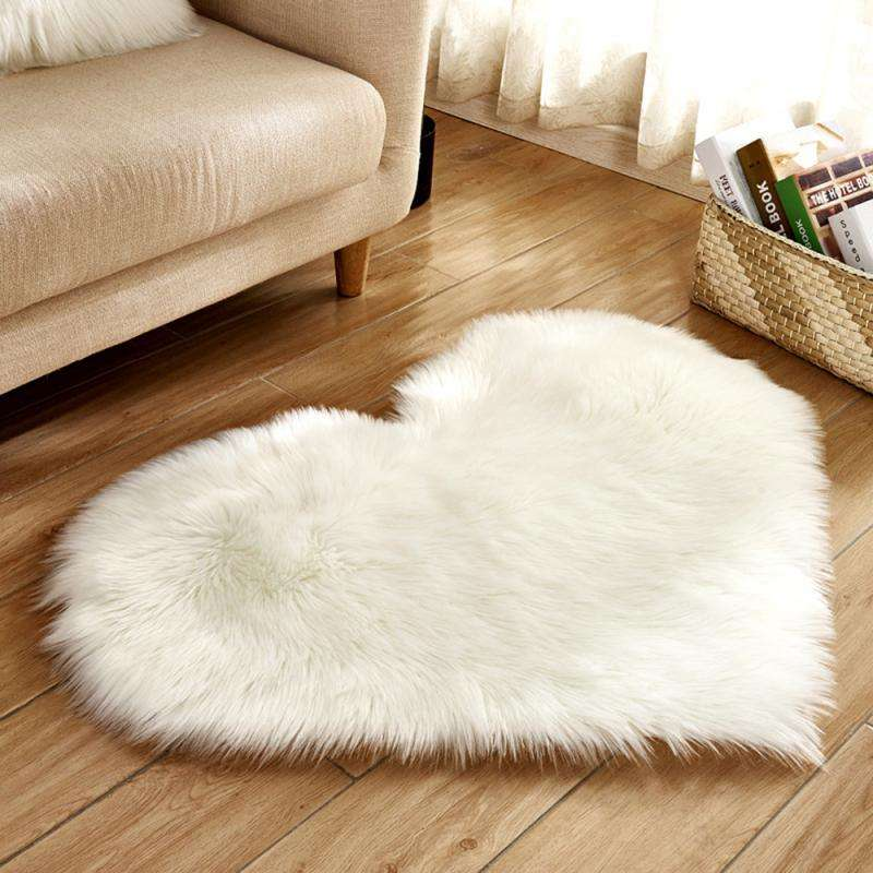 Fluffy Love Heart Carpets For Living Room Hotel Faux Fur Rugs Kids Room Long Plush Rugs For Bedroom Shaggy Area Rug Modern Mats
